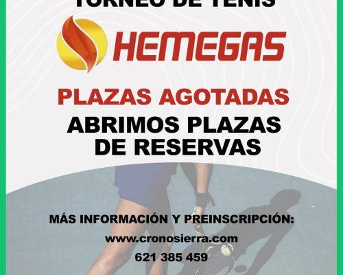 Abiertas plazas de reserva | Torneo de Tenis Hemegas